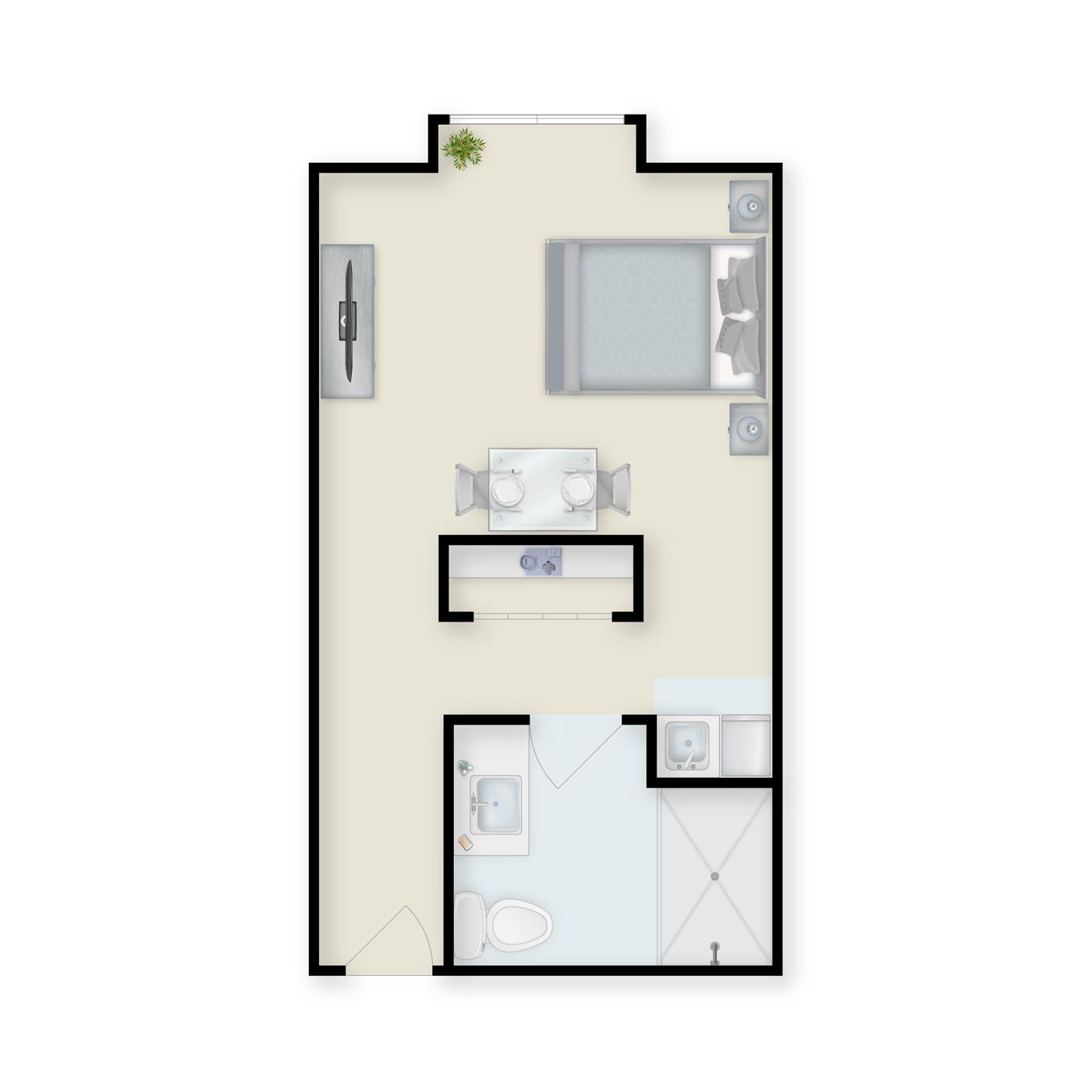 Floor plans of studio memory care apartment at Charter Senior Living of Buford