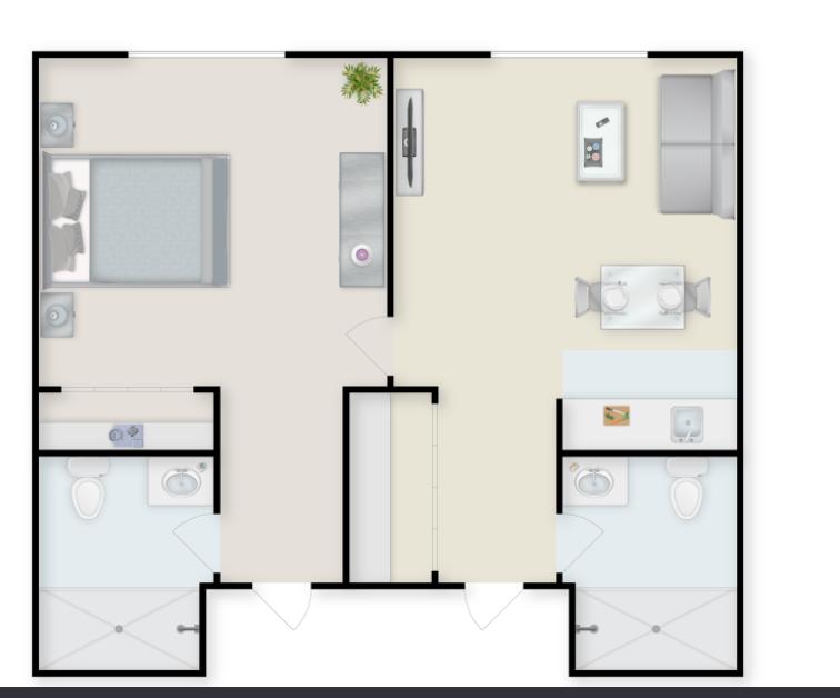 One Bedroom Deluxe senior living apartment floor plans